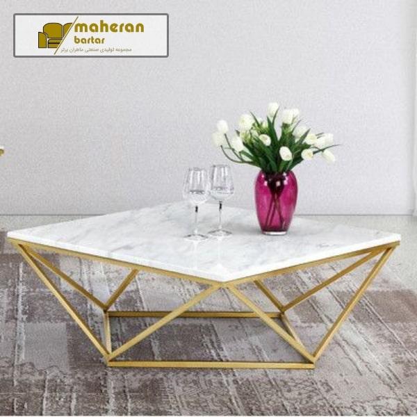 تولید و فروش بدون واسطه میز جلو مبلی استیل صفحه سنگ سفید طلایی ستیا