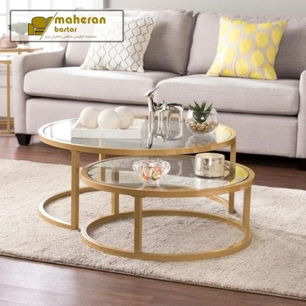 ست دو تیکه میز عسلی جلو مبلی استیل طلایی صفحه شیشه سالویا