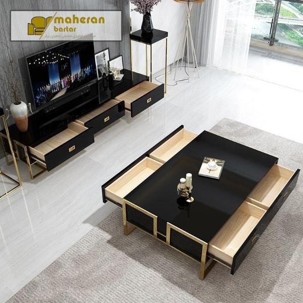 خرید میز تلویزیون استیل مدرن کاترینا