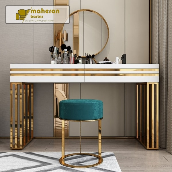 تولید و فروش آناین میز کنسول استیل طلایی