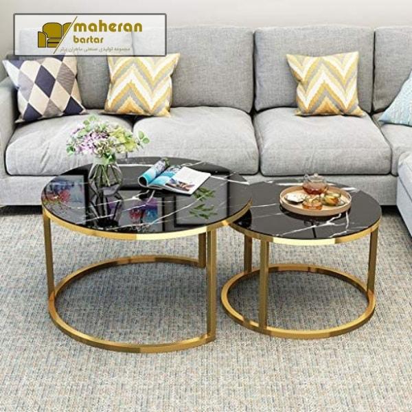میز جلو مبلی استیل طلایی صفحه سنگ مشکی مدرن شیک