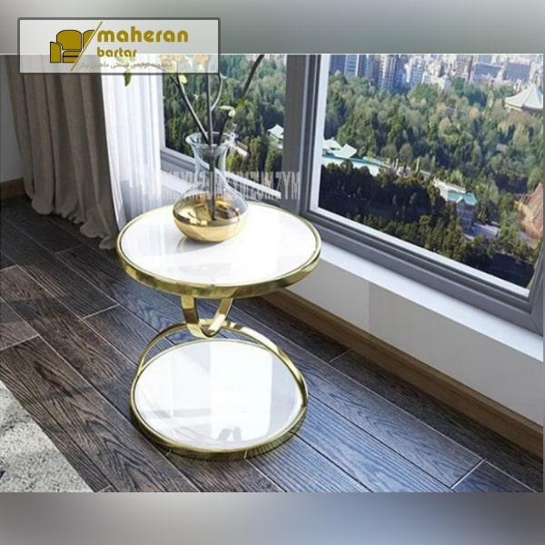 خرید آنلاین میز عسلی استیل طلایی صفحه سنگ سفید لاکچری رزیتا