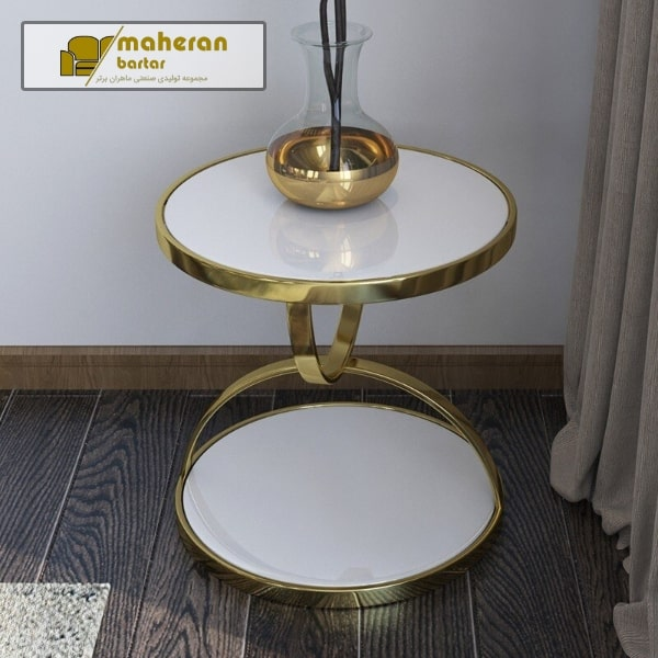تولید و فروش اینترنتی میز عسلی استیل سفید طلایی لاکچری رزیتا