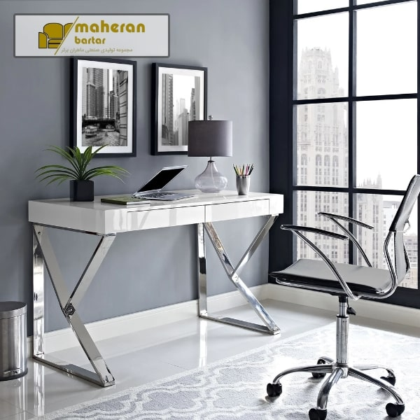 فروش میز کامپیوتر استیل هایگلاس سفید آنیسا
