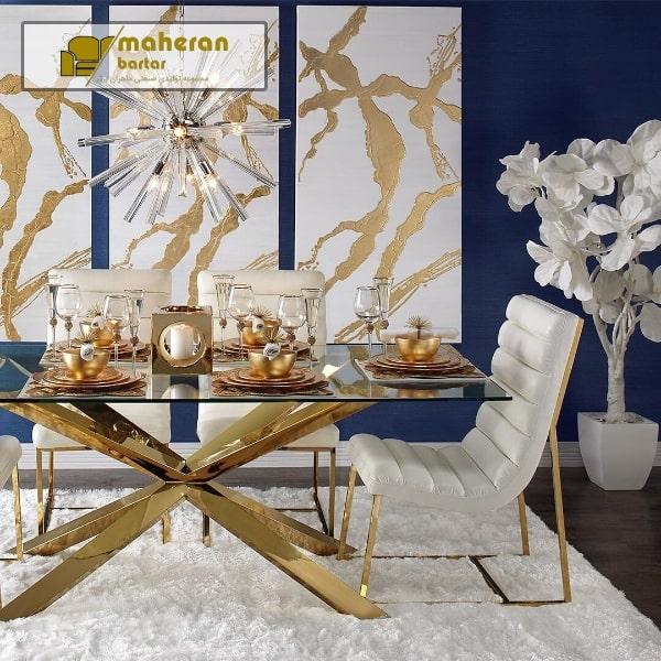 تولید و فروش میز ناهار خوری استیل صفحه شیشه