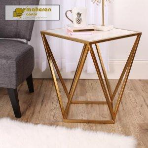 خرید آنلاین میز عسلی استیل طلایی سنگ سفید لوکس ستیا با قیمت ارزان