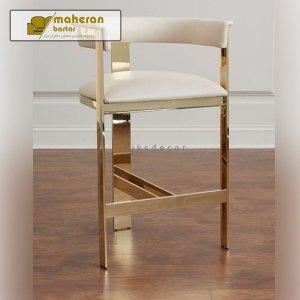 خرید آنلاین صندلی اپن ، بار ، کانتر استیل طلایی ساده و شیک فوژان