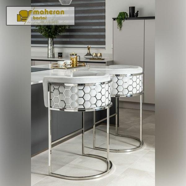 تولید و فروش آنلاین صندلی اپن استیل سیلور پارچه سفید نارسیس
