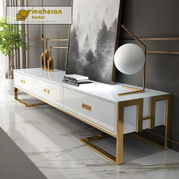 خرید اینترنتی میز تلویزیون استیل سفید طلایی کاترینا