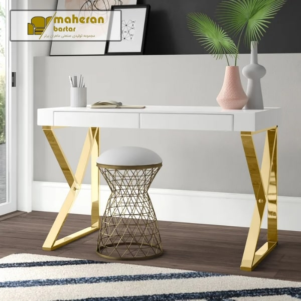 قیمت میز تحریر استیل سفید طلایی