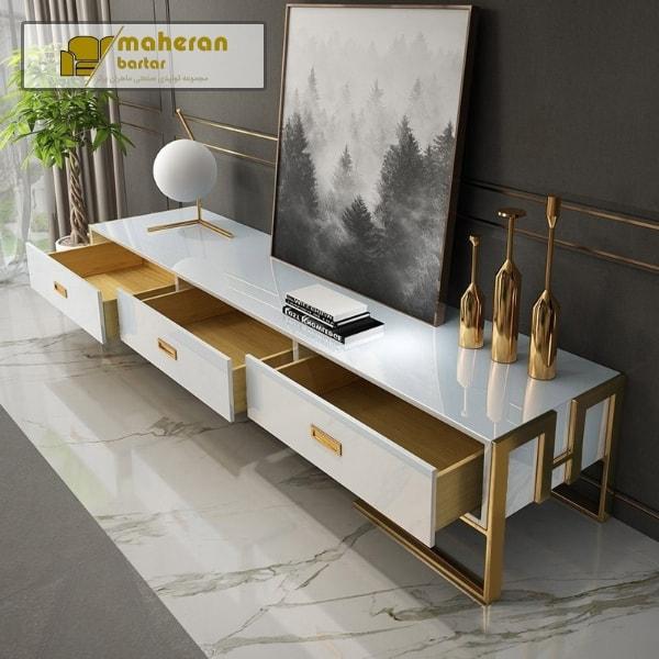 فروش انلاین میز تیوی استیل سفید طلایی کاترینا