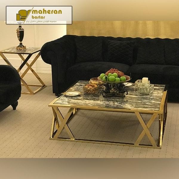 میز جلو مبلی استیل طلایی با صفحه سنگ طبیعی مدرن و لوکس