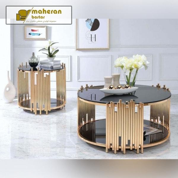 تولید و فروش آنلاین میز جلو مبلی استیل طلایی شیشه دار