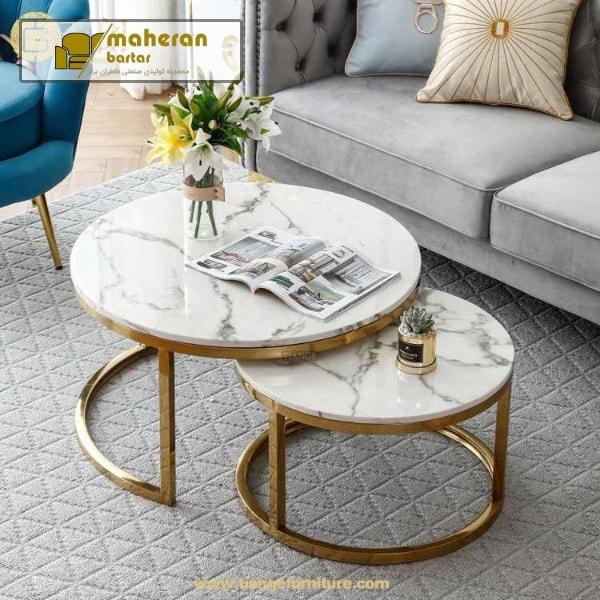 تولید و فروش میز جلو مبلی استیل طلایی سنگ سفید