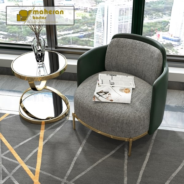 میز عسلی استیل مدرن طلایی صفحه شیشه مشکی لاکچری