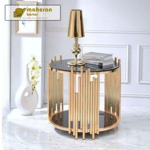 فروش آنلاین میز عسلی استیل لاکچری و مدرن طلایی با شیشه دودی
