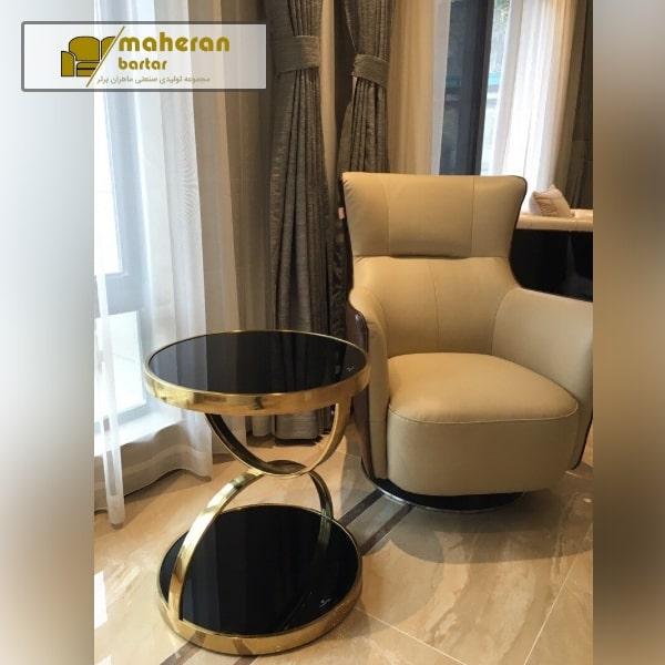 خرید آنلاین میز عسلی استیل طلایی لوکس با صفحه شیشه مشکی