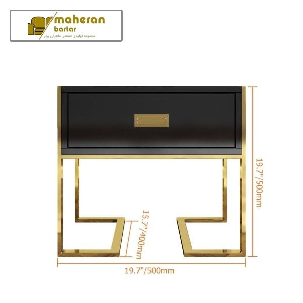 میز عسلی مشکی طلایی استیل کاترینا