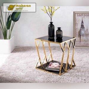 خرید آنلاین میز عسلی پایه استیل طلایی شیشه مشکی