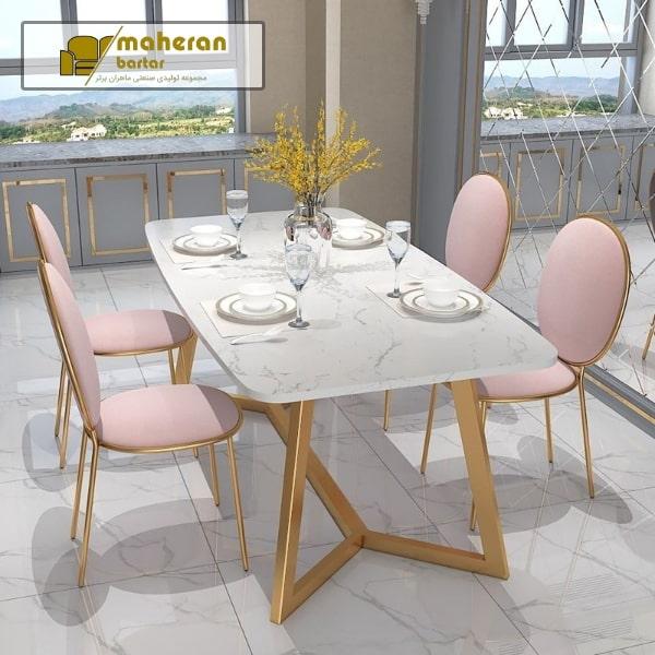 خرید آنلاین میز غذا خوری استیل طلایی سنگ سفید