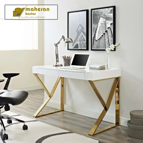 فروش اینترنتی میز مطالعه و کامپیوتر و تحریر استیل سفید طلایی