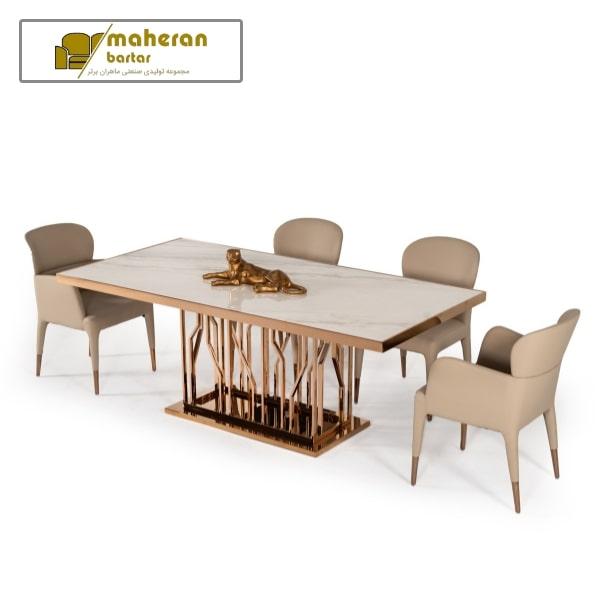 خرید میز نهارخوری استیل مدرن صفحه سنگ