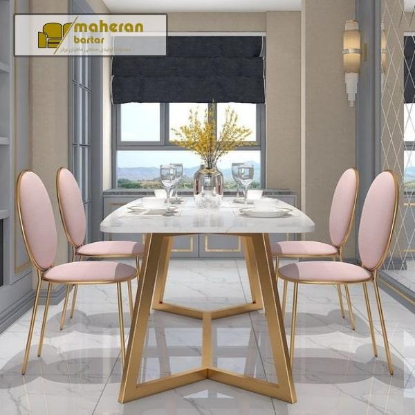 قیمت فروش میز ناهار خوری استیل طلایی با صفحه سنگ