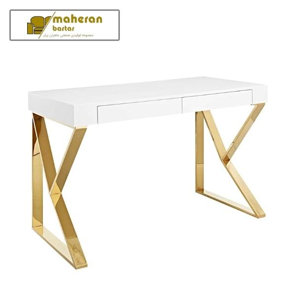 تولید و فروش میز کامپیوتر استیل سفید طلایی