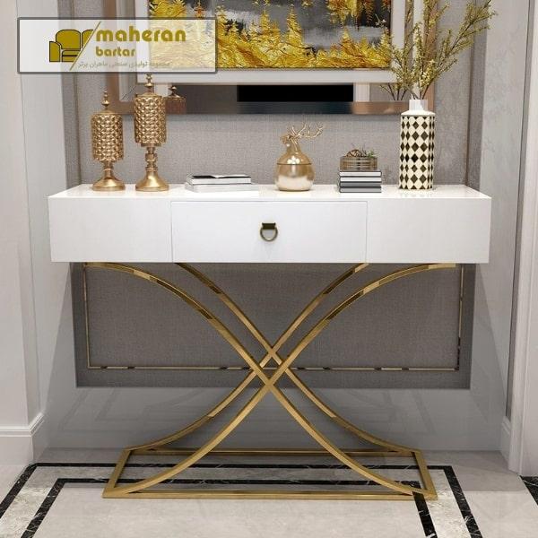 فروش آنلاین میز کنسول استیل سفید پایه طلایی