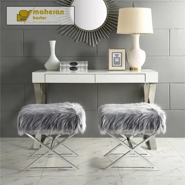 خرید آنلاین نیمکت صندلی آرایش استیل رویه خز مدرن