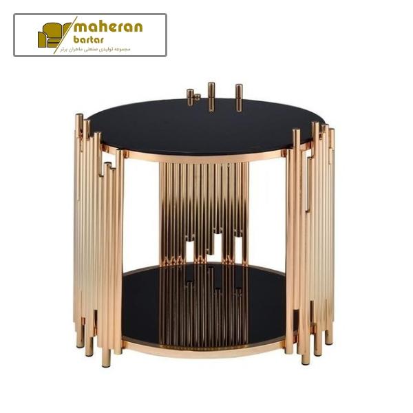 قیمت شیک ترین میز عسلی استیل طلایی شیشه مشکی