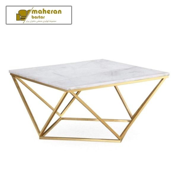 میز جلو مبلی استیل طلایی صفحه سنگ سفید ستیا
