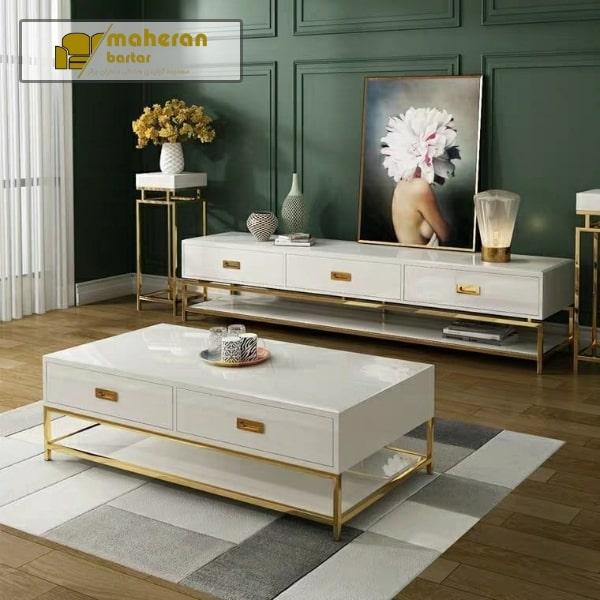 میز جلو مبلی استیل سفید طلایی
