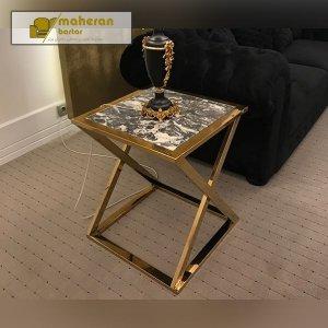 خرید میز عسلی استیل طلایی با صفحه سنگ ارزان