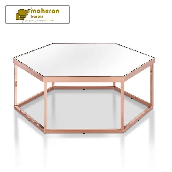 خرید میز جلو مبلی استیل طلایی با شیشه لوکس