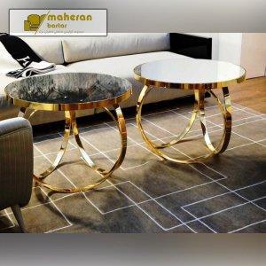 خرید آنلاین میز عسلی استیل گرد طلایی مدرن