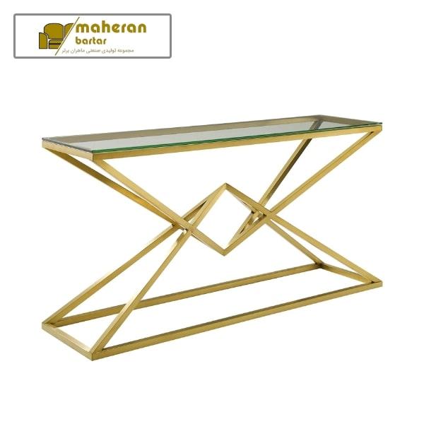 فروش آنلاین میز کنسول استیل طلایی با شیشه خاص
