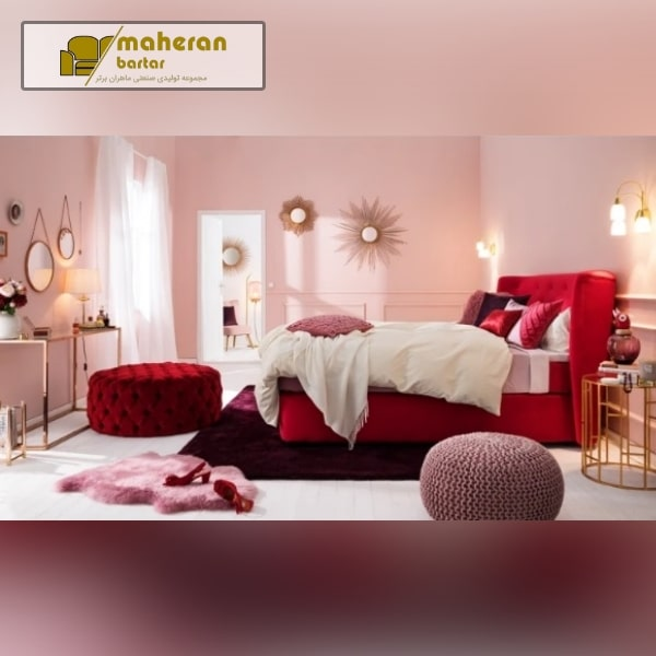 دیزاین اتاقخواب عروس رنگ قرمز