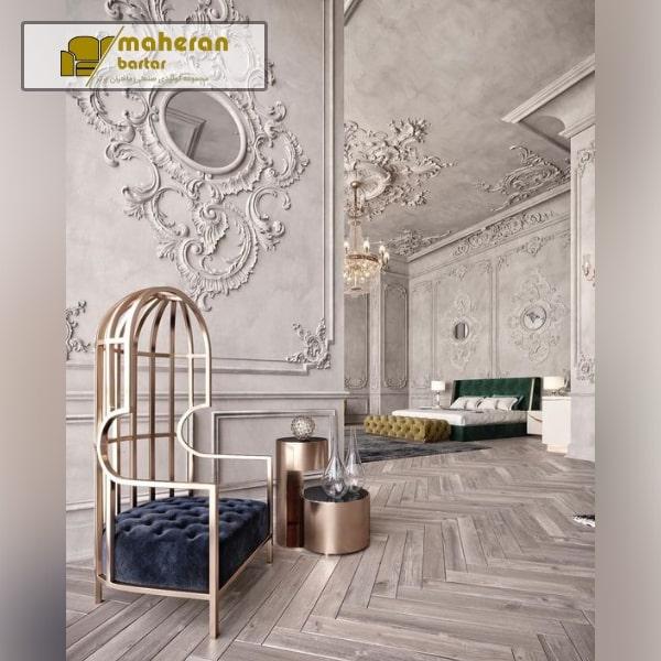 صندلی استیل طلایی پارچه مشکی