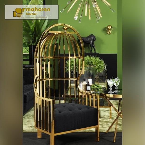 فروش صندلی شیک و مدرن استیل طرح قفس