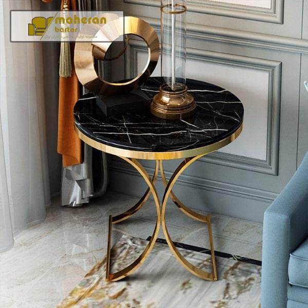 میز عسلی پایه استیل با صفحه سنگ مشکی مدل روناتا
