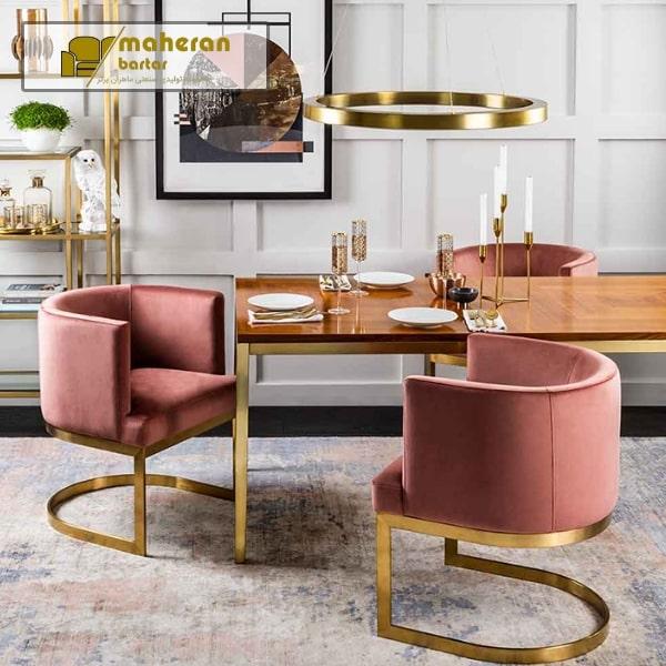 مبل راحتی و صندلی ناهار خوری پایه استیل شیک پانیذ