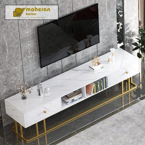 خرید اینترنتی میز tv استیل با سنگ سفید