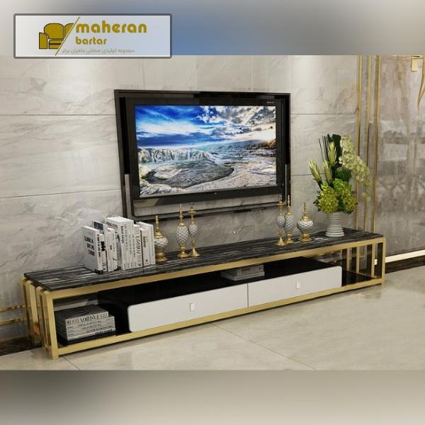 میز تلوزیون استیل طلایی با سنگ مشکی