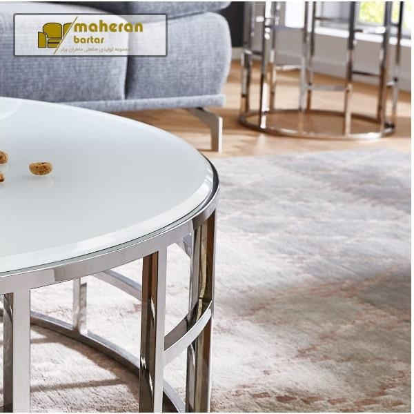 میز وسط استیل با سنگ طبیعی