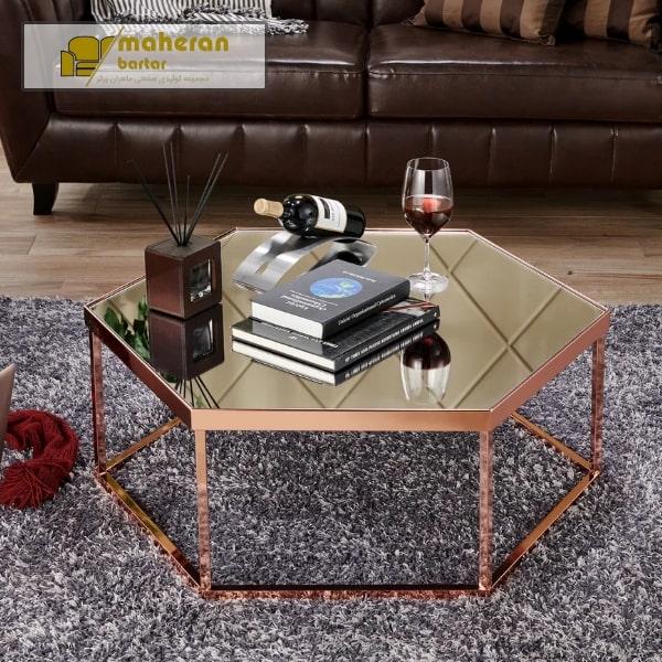 سفارش آنلاین میز جلو مبلی استیل با شیشه مشکی