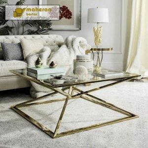 میز وسط استیل طلایی با شیشه ساده و ارزان