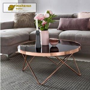 سفارش آنلاین میز جلو مبلی استیل طلایی با شیشه مشکی