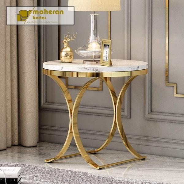 خرید آنلاین میز عسلی پایه استیل طلایی با سنگ سفید