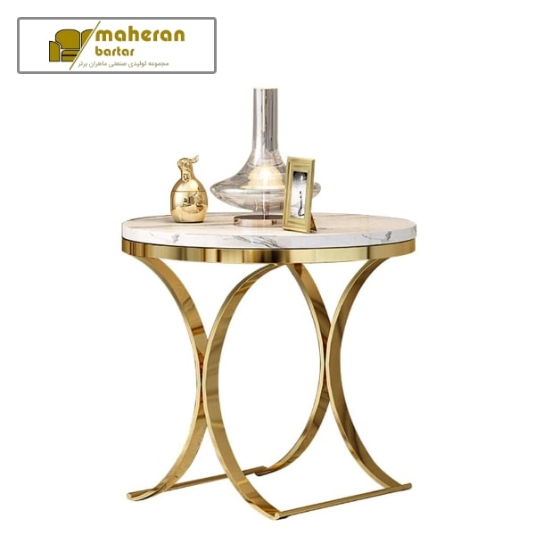 میز عسلی استیل شیک و مدرن با سنگ سفید